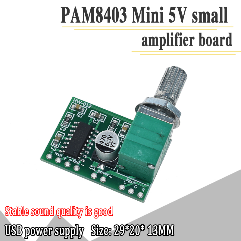 PAM8403 5V Power Audio Amplifier Board 2 Channel 3W W Volume Control / USB Power