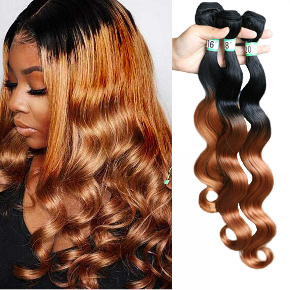 Natifah Ombre Body Wave Bundels Haar Bundels 1 3 Bundels 16-20 Inch Synthetisch Bundels Hair Extension Ocean Wave voor Zwarte Vrouw