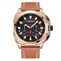 MEGIR Лидирующий бренд  роскошные мужские наручные часы с хронографом  мужские часы из кожаного сплава  спортивные армейские военные кварцевы...
