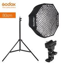 Godox 31.5in 80 cm Octagon Umbrella Softbox 200 cm Light stand Umbrella Hot Shoe Bracket Kit voor Speedlite Flash
