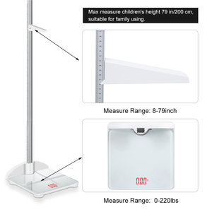 Image 4 - Height Rod Stadiometer Foldable Child Height Meter & Scale 2 in 1, Measuare 79 Inch & 200lbs