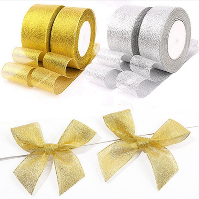 Hd3c29945ca1349a1bf4a9d7bfd8196e2E Gold silver ribbon 25 yards 22M metal shiny For wedding party Christmas decoration DIY craft cake gift bow packaging ribbon