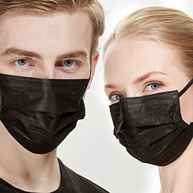 50/100pcs Black Mask Mouth 3 Layers Non Woven Activated Bamboo Carbon Prevent Anti-Dust Bacteria Disposable Civil Mouth Masks