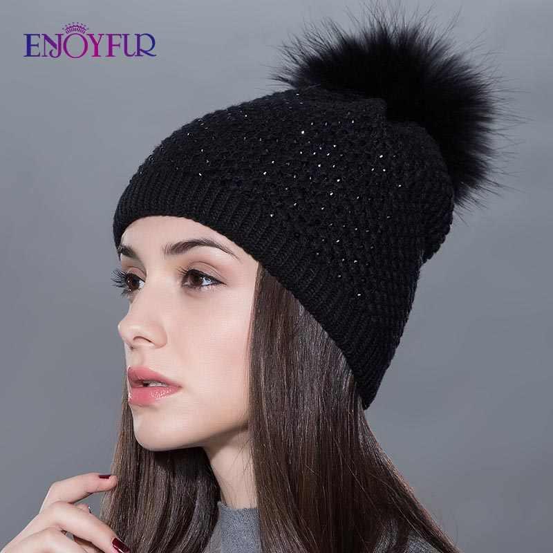 Chapéu de pele feminina para o inverno de malha de lã gorros boné de pele macia pom pom chapéus marca nova moda casual bonés boa qualidade