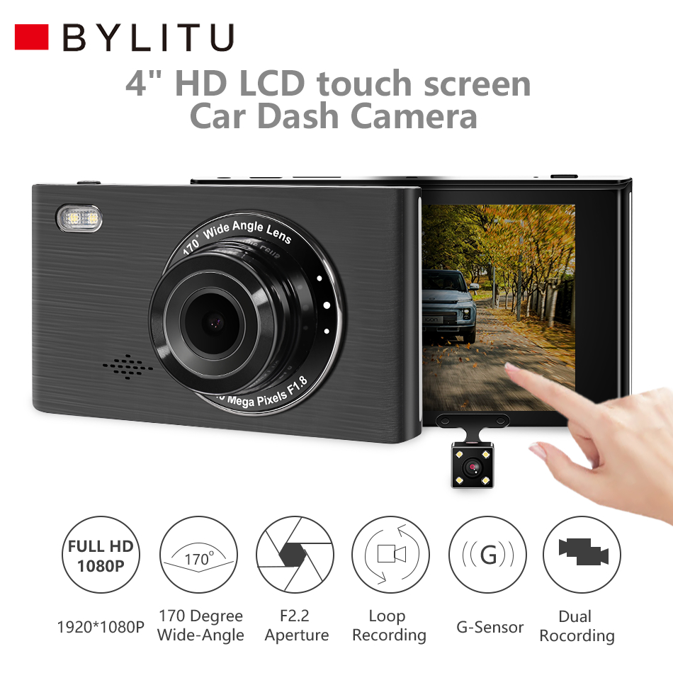 BYLITU <font><b>Car</b></font> <font><b>DVR</b></font> Cameras Lens 4 <font><b>inch</b></font> IPS Touch Screen Dash <font><b>Camera</b></font> Dual Lens With <font><b>Rearview</b></font> <font><b>Camera</b></font> Video Recorder <font><b>Dvr</b></font> Dash Cam image