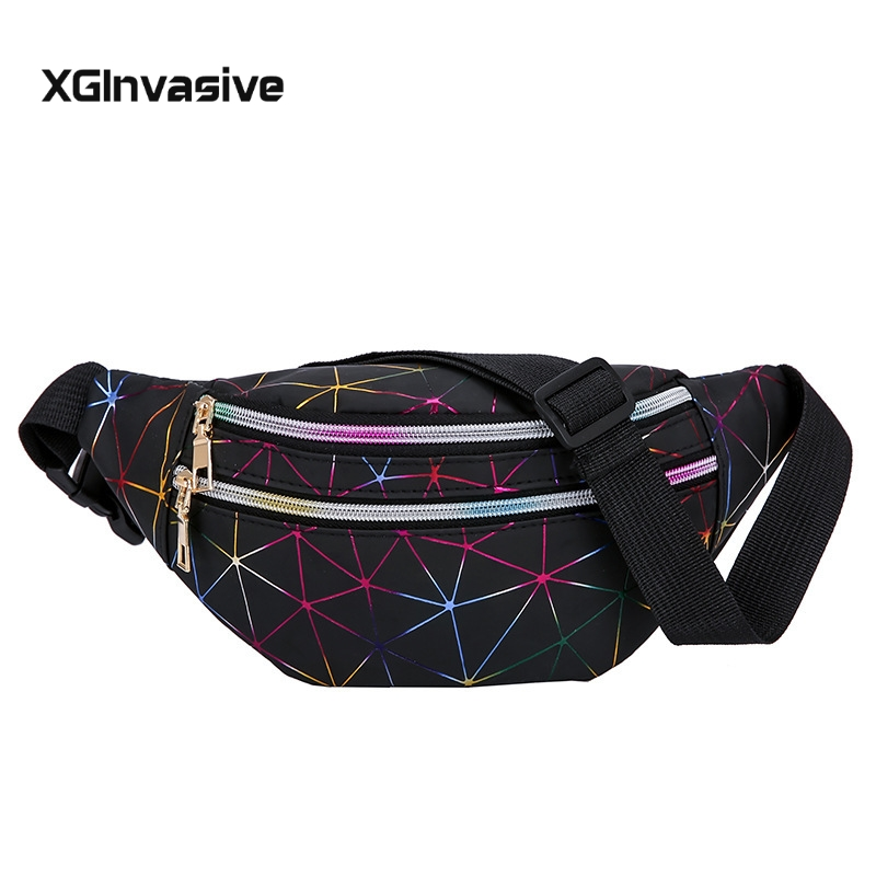 Hot Sale Holographic Waist Bags Women Pink Silver Fanny Pack Female Belt Bag Black Geometric Waist Packs Laser Chest Phone Pouch