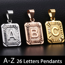 Trendsmax Initial A-Z Letter Pendant Charm Rose Gold Silver Color Capital Letter Necklace for Women Men Fashion Jewelry KGPMM01