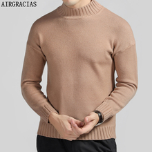 AIRGRACIAS Sweater Men Autumn Winter Warm Mens Knitted Sweaters Solid Color Casual O-Neck Pull Homme Cotton Pullover Men