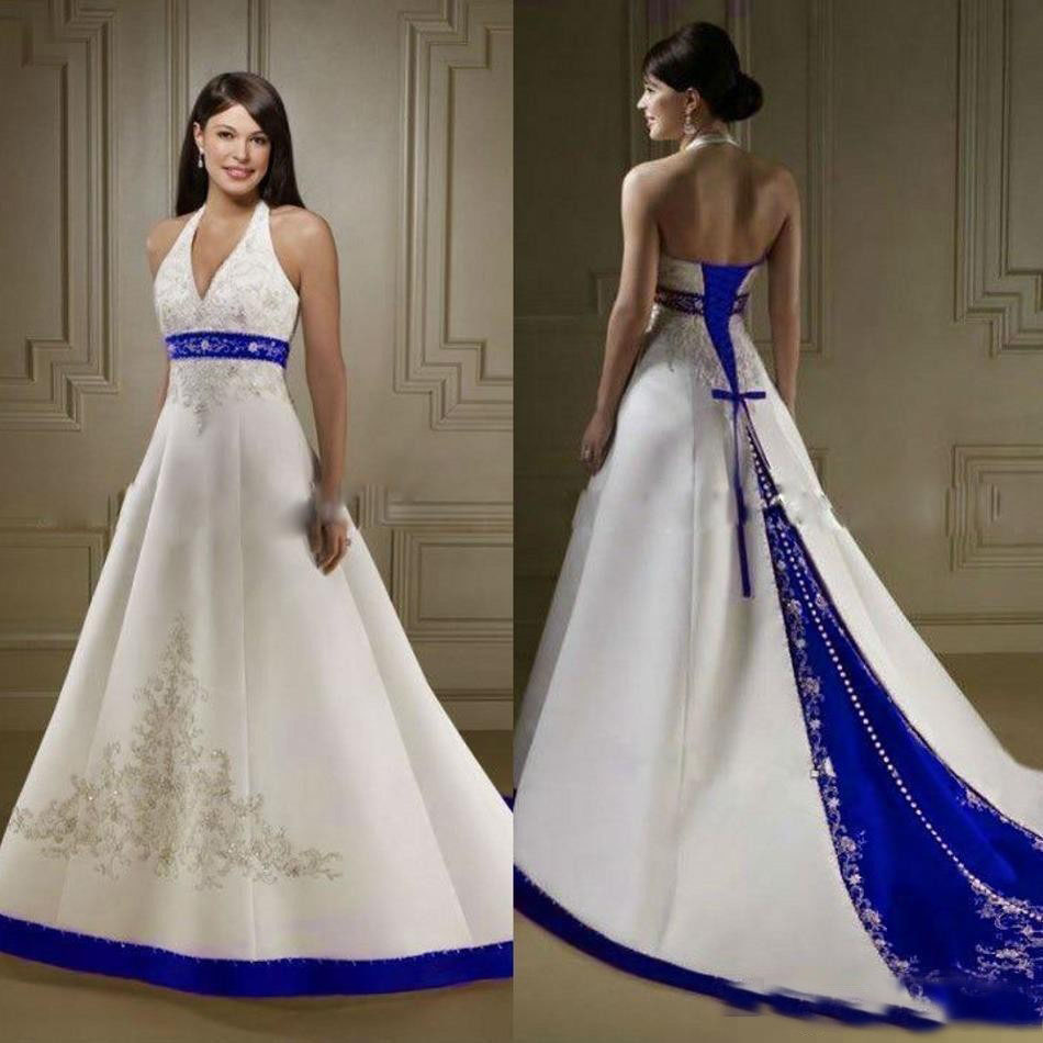 White And Royal Blue Satin Beach Wedding Dresses Halter Embroidery Chapel Train Corset Country Garden Bridal Gowns Custom Made