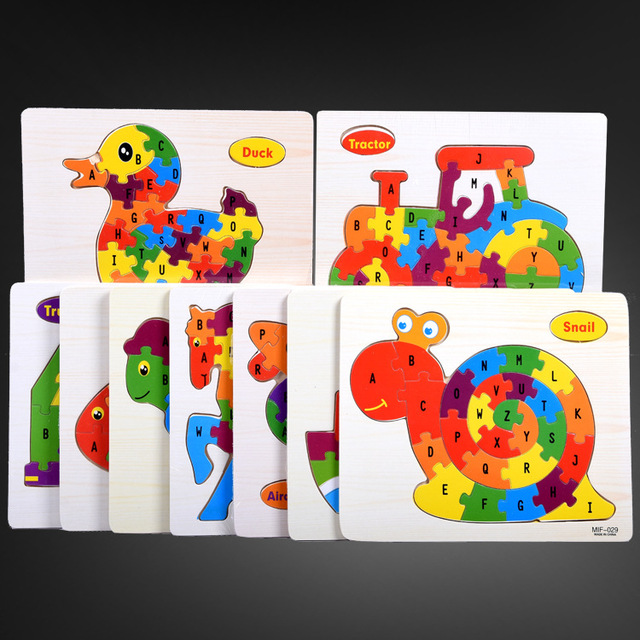 Kids Intelligence Baby Toy Wood Puzzles Cognition English Letter Building Wooden Animal Jigsaw Puzzle Toys for Children Toddler 2