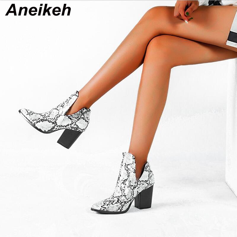 Aneikeh stivali da Cowboy Western da moto donna modello serpente tacchi alti in pelle PU Slip On stivaletti da Cowboy stivaletti alla caviglia scarpe botas 43