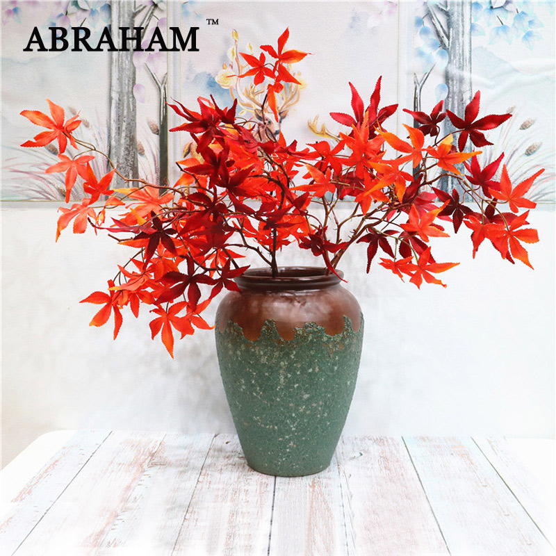 78cm 4 Fork Fake Maple Leafs Bouquet Large Artificial Tree Branch Autumn Leaves Farmhuse Plants For Wedding Halloween Home Decor