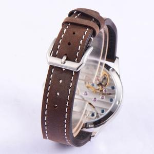 Image 5 - Sterile 44mm Sterile Black Dial  Luminous 6497 Hand Winding ST3600 Movement mechanical wristwatches sapphire crystal 316L SS