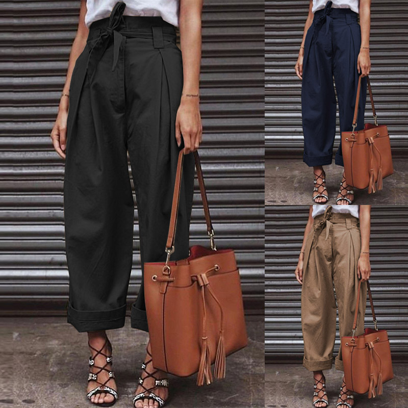 ZANZEA Cotton Linen Pants High Waist Paper Bag Pants Belted Zipper Work Chic Trousers Elegant Lady Wide Leg Streetwear Plus Size