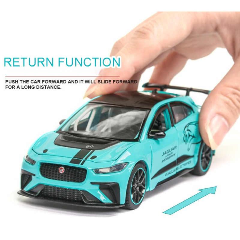 الصوت الكهربائي والضوء جاكوار 1:32 سيارات مصنوعة بالضغط نموذج مع ستة أبواب سيارات لعبة معدنية عالية التقليد سيارة بوي هدية في الصندوق