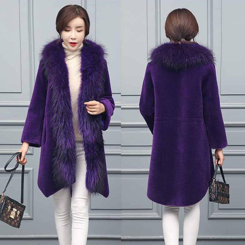Duoupa Wanita Panjang Gunting Domba Jaket 2019 New Fox Raccoon Bulu Kerah Panjang Musim Gugur dan Musim Dingin Fashion Hangat wol Mantel Bulu