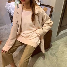 2019 Women Spring Autumn Fashion Brand Korea Style Vintage Simple Slim Black Suit Blzaer Female Casual Loose Coat Jacket