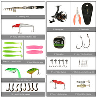 ilure Spinning Reel Telescopic Rod Full kit Fishing Lure Set with Soft Worm Hard Lure Grip Jig Hooks Crank Hook Bag for pesca