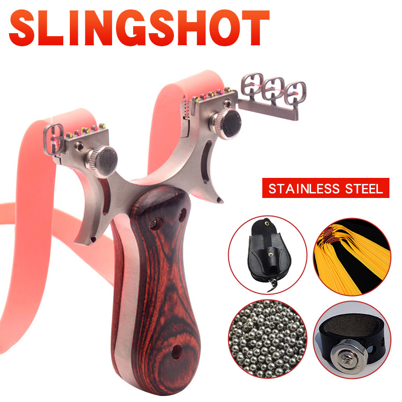 High Precision Flat Leather Slingshot Big Power Catapult Outdoor Hunting Shooting Professional Bow Traditional Sling Shot