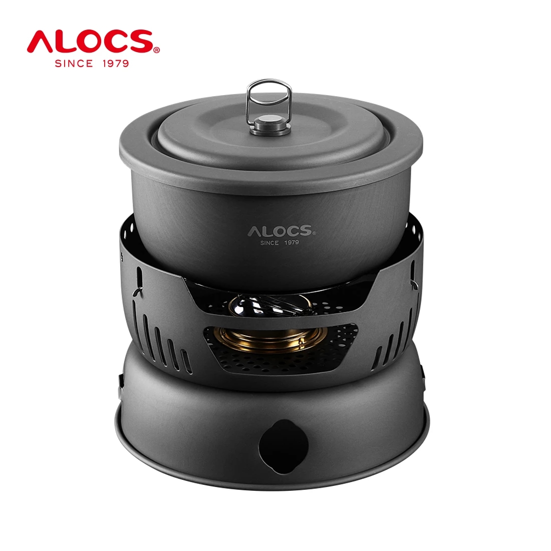 Alocs 2-4 Person Cooking Set 10 Pieces Camping Cookware Outdoor Hiking Picnic Utensil Spirit Stove Alcohol Cooker Pot Windshield