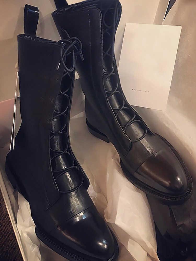 Kadın ayakkabısı retro moda Martin çizmeler 2019 yeni sonbahar net lokomotif tüp yarım çizmeler