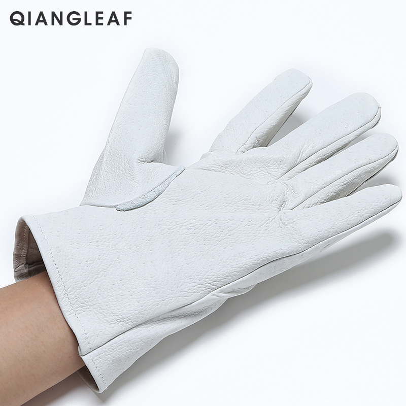 Image 2 - QIANGLEAF Brand Safety gloves D Grade White Grain mittens Leather glove Men Driver Wholesale White Gloves Free Shipping 130-in Safety Gloves from Security & Protection