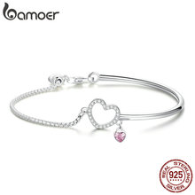 BAMOER Romantic New 100% 925 Sterling Silver Heart Pink CZ Chain Link Bangles Bracelets for Women Sterling Silver Jewelry SCB117