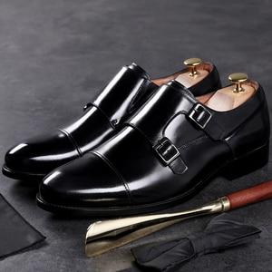 Image 5 - DESAI fait à la main hommes en cuir véritable robe de haute qualité Design italien marron bleu couleur poli à la main bout pointu chaussures de mariage