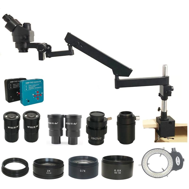Ship from Spain 3.5X-90X Simul Focal Trinocular Articulating Arm Clamp Stereo Microscope 38MP HDMI Cellphone microscopio camera