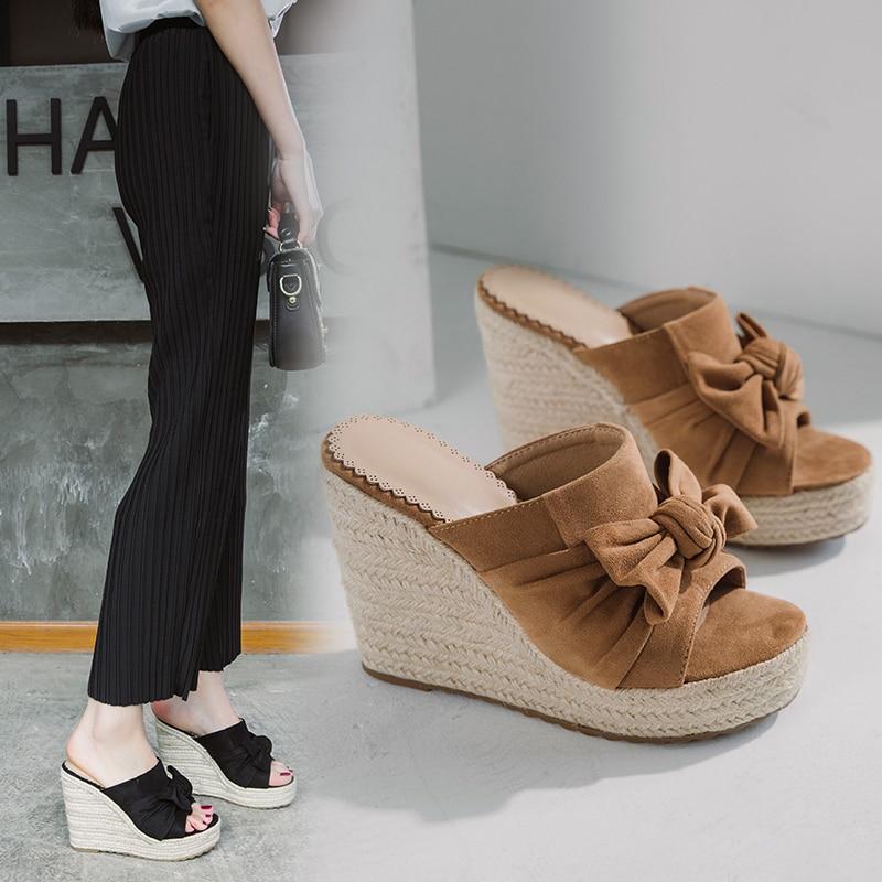 Summer Women Sandals Platform Wedge Sandals Women hemp rope Solid Summer Shoes Gladiator Sandals Big Size 2020 Fashio