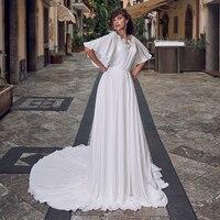 Eightale Bohemian Wedding Dress O Neck Short Sleeves Appliques Chiffon Beach Wedding Gowns Bride Dresses robe vintage mariage