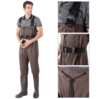 Men's Women Waterproof Bootfoot Fly Fishing Chest Rubber Wader Wading Boots Suits With Camouflage Pant HX02