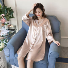 Spring Autumn Solid Color Three Quarter Women's Nightdress Ice Silk Large Size 100kg Fat MM Nightgowns & Sleepshirts Home Wear