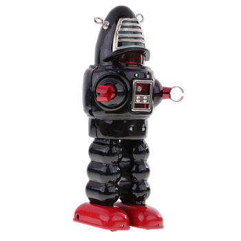 Vintage Wind Up Mechanical Tin Mask Robot Spaceman Retro Clockwork Toy Black