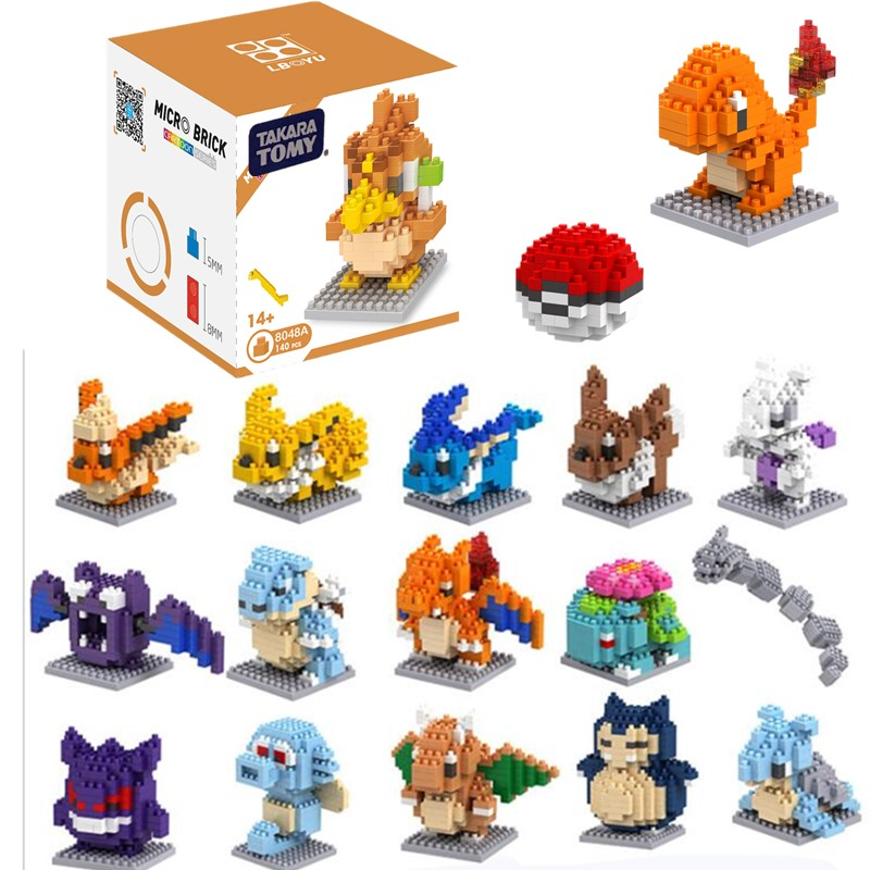 20 Styles Pokemons Blocks Funny Joy Children Pikachu Diamond Particle Blocks Puzzle Toy