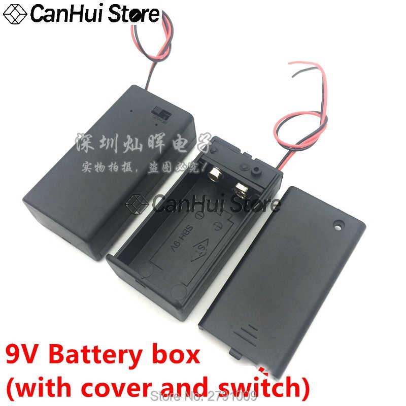 1 قطعة 9 فولت صندوق حزمة الطاقة تبديل أسود 9 فولت بطارية حامل I/T نوع البطارية كليب موصل مشبك مع ON/OFF التبديل ، DC5.5 المكونات