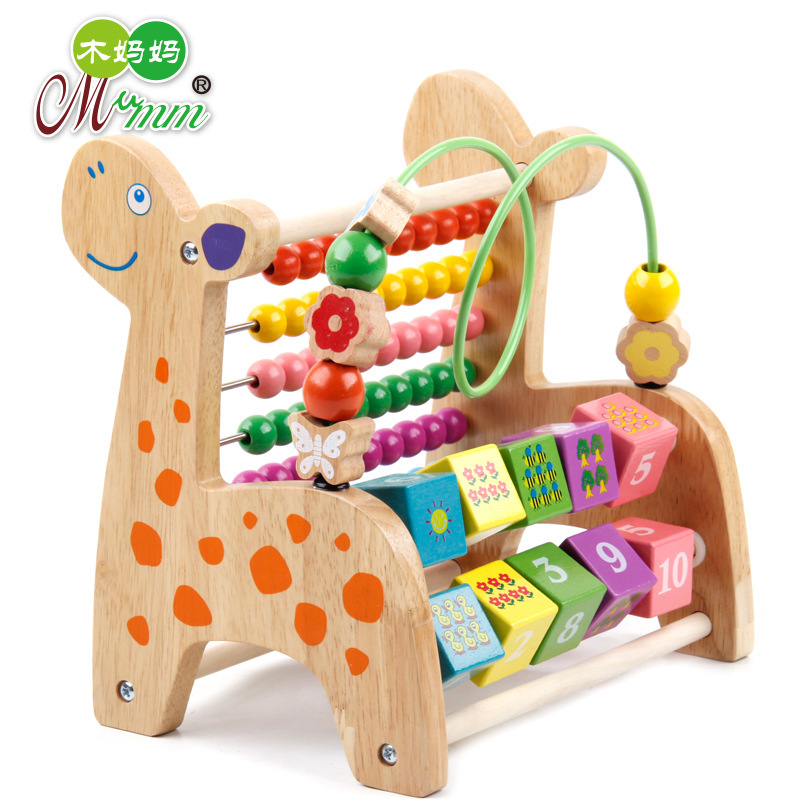 Wood Mom Wooden Toys Multi-functional Solid Color Deer Bead-stringing Toy Calculation Frame Children'S Educational Bead Toy 0.96