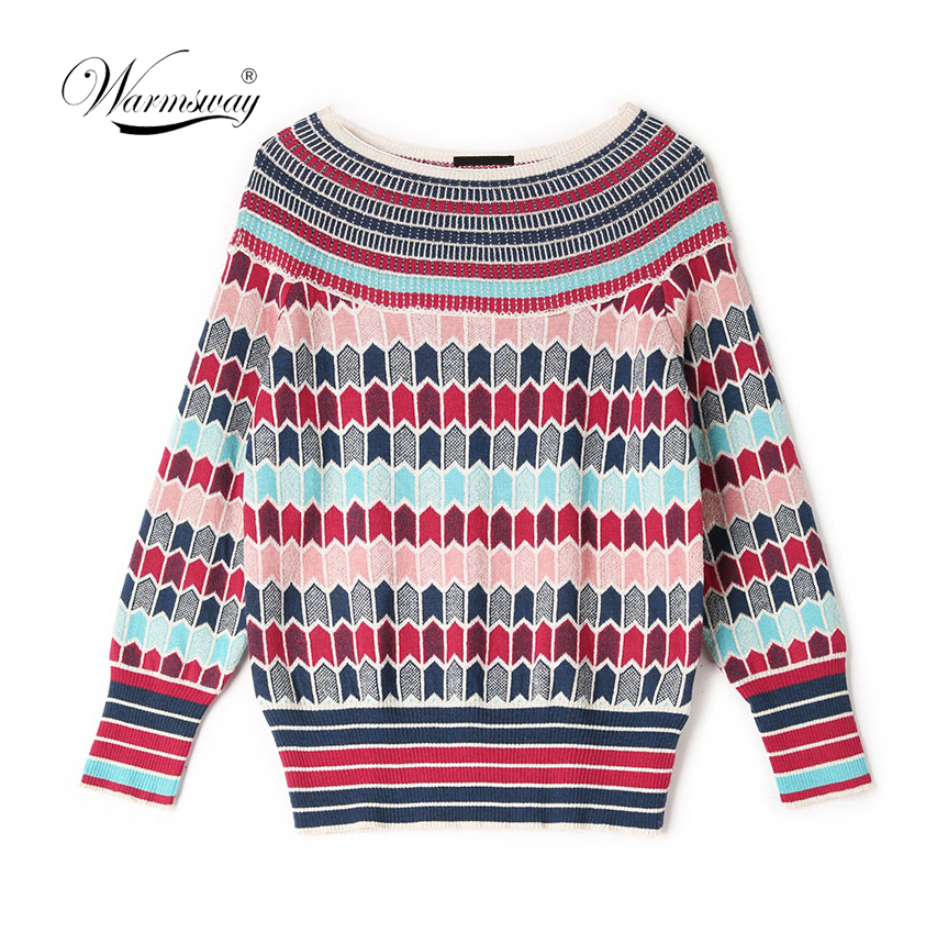 Runway Designer Wool Blend Warm Sweaters And Pullovers Women Winter Striped Female Knitted Jumper 2019 Christmas Clothing C-250