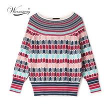 Suéteres y jerséis cálidos de mezcla de lana de diseñador de pasarela, suéter tejido a rayas de invierno para mujer, C 250 de ropa de Navidad 2020
