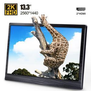13.3 Inch 2k IPS Portable Monitor Laptop & Gaming Monitors HDMI LED Display for Computer PC PS4 Xbox Camera 2560x1440 13.3
