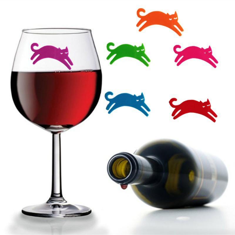 Silicone Red Wine Glass Marker Drink Marker Creative Lips Moustache Cat Shape Glass Identification Marker