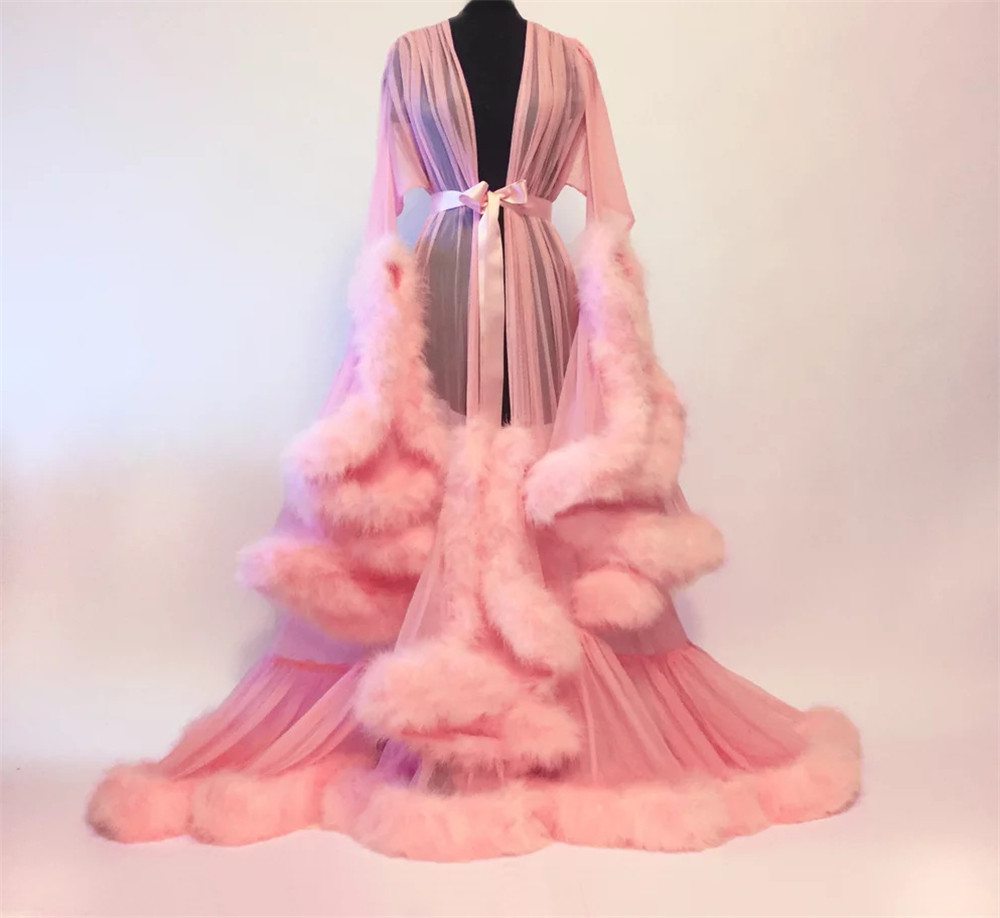 Halloween Women's Medieval Vintage Semitransparent Bridal Gowns Feather Wedding Robe Furry Edge Fairy Outwear Costume Dress