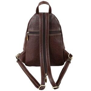 Image 3 - Mini Mochila De Cuero Artificial suave Vintage multifunción para mujer, Bolso pequeño de hombro para mujer, bolsos de pecho de viaje diarios