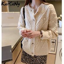 Karsany короткий фиолетовый кардиган Женский вязаный свитер