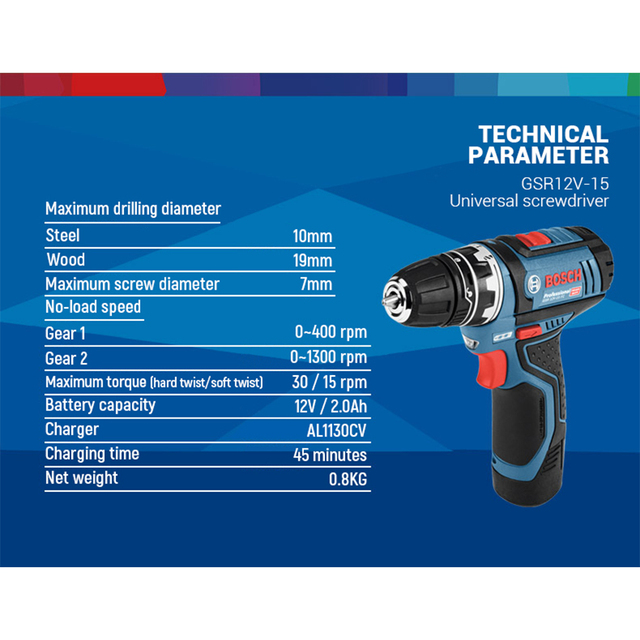 Bosch GSR12V Cordless Drill Electric Drill Wireless Power Driver Lithium-Ion Battery Screwdriver Drilling Machine With LED Ligh 5