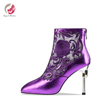 Original Intention Stylish New Embroidered Purple Blue Ankle Boots Woman Pointed Toe Sexy Metal Stiletto High Heels Elegant Shoe(China)