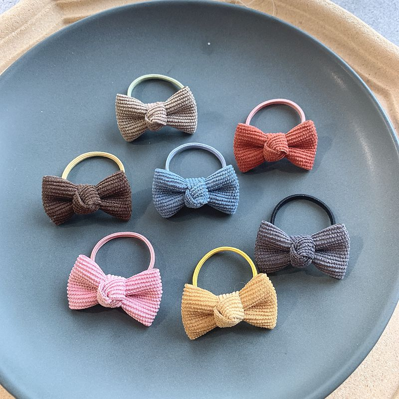 2/14pcs Kids Corduroy 4.5cm Hair Bows Elastic Hair Ties Rubber Bands Hair Clips For Girls Toddlers Children Hair Accessories