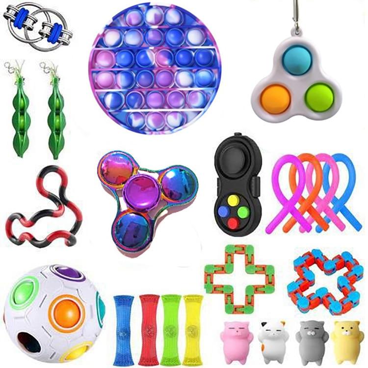 Fidget-Toys Gift-Pack Anti-Stress-Set Pop-It Stretchy-Strings Sensory Squishy Children img4
