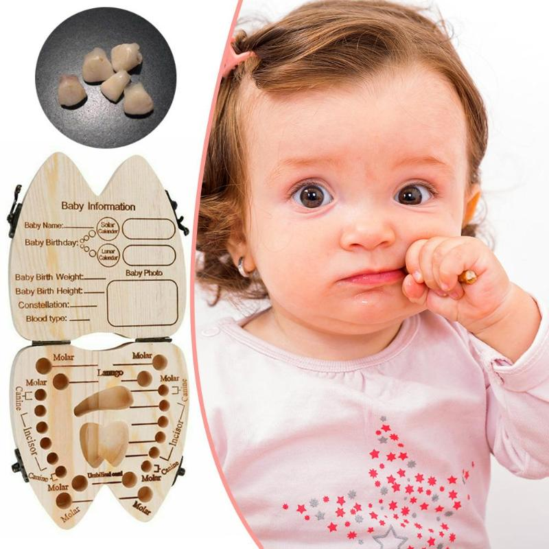 Wood Baby Tooth Box Kid Umbilical Lanugo Keepsakes Storage Case Save Milk Teeth Collection Holder English-Type