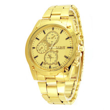 Eaby Amazon Hot Sales Top Grade Gold-Tone Steel Watch Fashion MH Men's Fake Three Eyes Watch Currently Available Wholesale